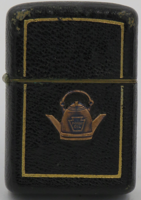 Leather-covered Zippos was also used for advertising. This Zippo advertises Forest Oil Corporation which began operations in 1916 in the Bradford Oil Field in Pennsylvania and which is still in business today