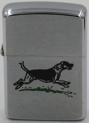 1967 Zippo with a running Labrador