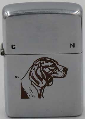 1949-50 Zippo with the head of a beagle and the letters C and N on the lid