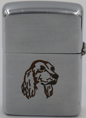 """1949-50 line drawn Zippo with a cocker spaniel. Not shown are the letters """"SF"""" engraved on the reverse"""