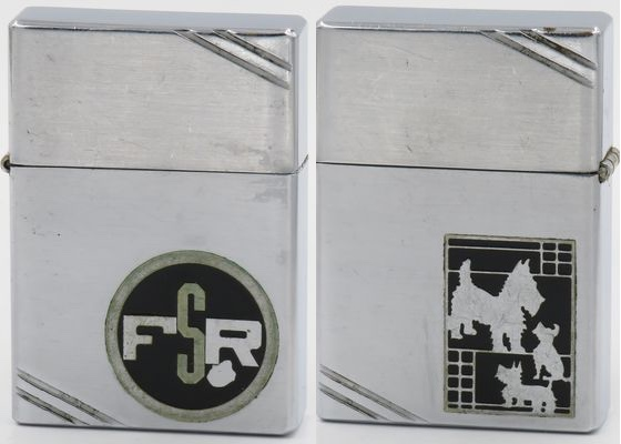 """1936 metallique Zippo with the Scotty Dog which along with the drunkard was one of the very first Zippo dog designs. The letters """"FSR"""" are on the reverse in metallique"""