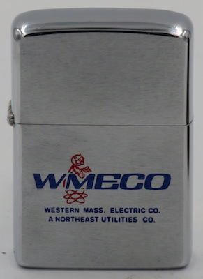 1973 Zippo with WMECO Western Mass. Electric Co.-- A Northeast Utilities Co