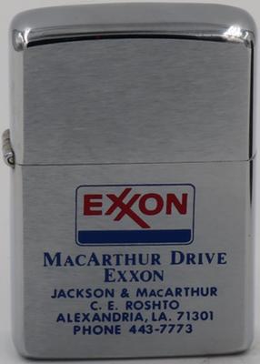 1975 Zippo advertising an Exxon service station in Alexandria LA