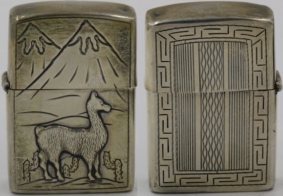 925 Sterling silver lighter made in Peru with llama, mountains and cacti on the front, Inca styled design on the reverse