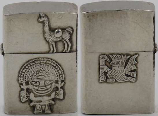 925 hammered Sterling Silver lighter from Peru with Alpaca and Inti on one side, Tiahunanco design on the other