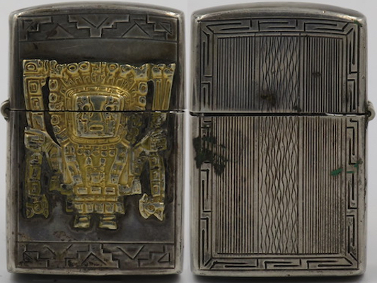 Peruvian 925 Sterling Silver lighter with gold Viracocha emblem attached
