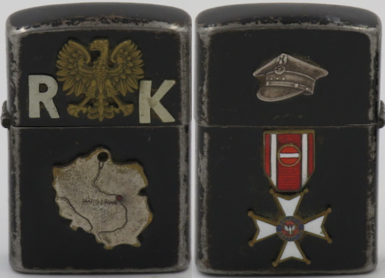 """Z 16 windproof lighter with Zippo insert. The black lighter has the Polish military eagle emblem on the lid wit the initials """"R K"""" on the lid and a a map of Poland attached. (The map shows lines which may reflect one of the many partitions Poland was subjected to).The reverse has a Polish officer's """"rogatywka"""" four cornered hat on the lid and a miniature of the Order of Polonia Restituta with ribbon on the case"""