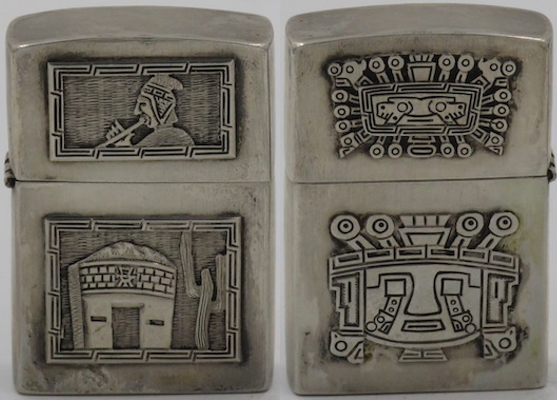 925 Sterling Silver lighter with Andean flutist and Inca building on one side,masks of Inca Sun Gods on the other