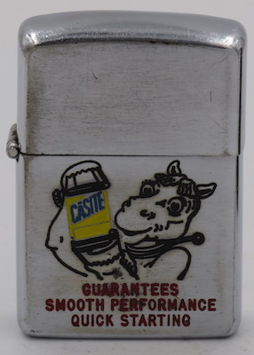 """1953 Zippo with the Casite Oil horse who """"Guarantees smooth performance quick starting"""""""