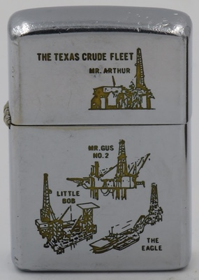 """1966 Zippo with images of offshore platform drilling rigs """"The Texas Crude Fleet"""". The rigs depicted are Mr. Arthur, Mr. Gus, Little Bob and The Eagle"""