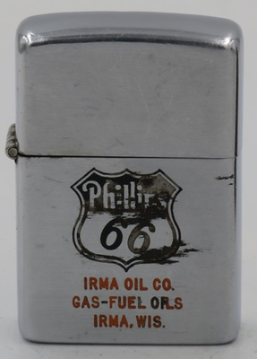 """Phillips 66 1951 Zippo with a Phillips 66 logo and """"Irma Oil Company Gas-Fuels-Oil Irma Wis"""". Phillips 66 lubricants have been around since 1927"""