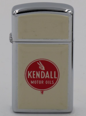"1978 Ultralite slim Zippo with the Kendall logo.  The ""ultralite"" acrylic chip was introduced in the later 1970's"