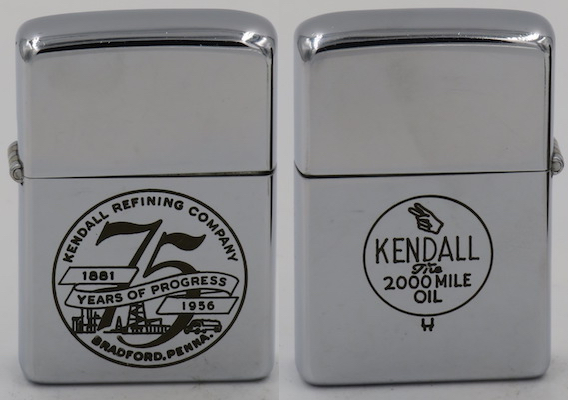 Two-sided 1956 Zippo commemorating Kendall's 75th Anniversary