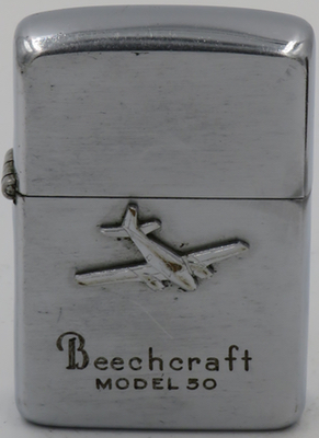 "ThisBeechcraft Model 50 ""Twin Bonanza in reliefon a 1952-53 Zippo"