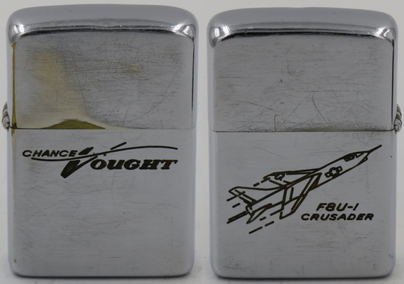 A 1957 Zippo with Chance Vought's F8U-1 Crusader fighter which set a national speed record in 1956 by flying over 1000 mph