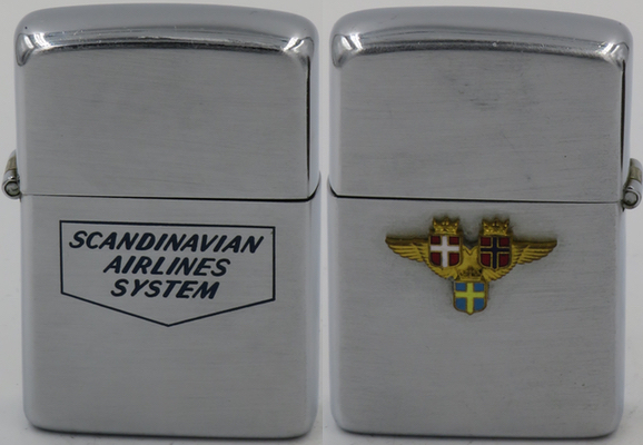 1946-49 Zippo with attached logo for SAS.   Scandinavian Airline System was created in a merger in 1946 of Swedish carriers ABA and SLA - Svensk Intercontinental Lufttraffik , Norway's carrier DNL - Det Norske Luftfartselskap and the Danish carrier DDL - Danske Luftfartselskap AB to cover overseas routes for Scandinavia