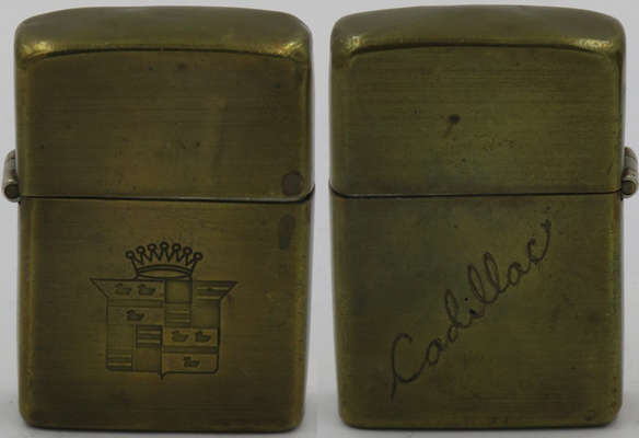 """1946-49 Zippo, a brass prototype with the Cadillac logo and """"Cadillac"""" hand-engraved on the back"""