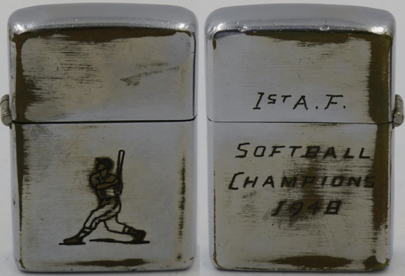 "1946-48 Zippo with line-drawn Sports Series' ""Baseball Player"".  The home engraving on the reverse side reads ""1st A.F. Softball Champions 1948"""
