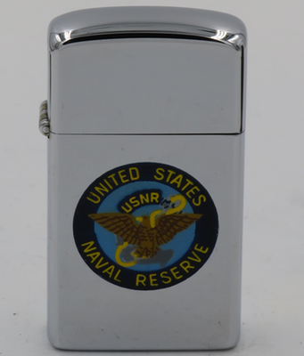 This 1964 T&C Zippo has a hand-painted emblem of the United States Naval Reserve, or USNR