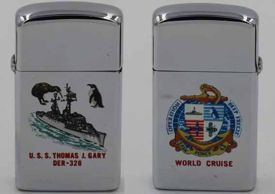In 1966 the USS Thomas J Gary participated in Operation Deep Freeze, a scientific expedition to the Antarctic, and this 1966 Zippo commemorates the event. The ship's history is told  HERE