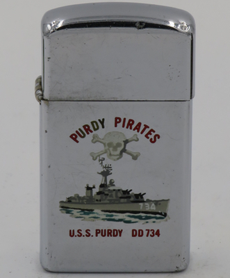1966 slim T&C Zippo for the destroyer USS Purdy and the Purdy Pirates