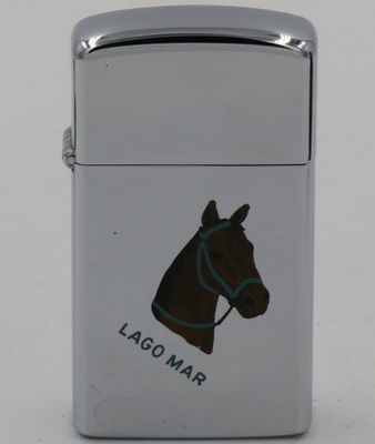 1963 Town & Country slim Zippo with the horse Lago Mar> . Not shown is the owner name, Natalie Lynch, on the other