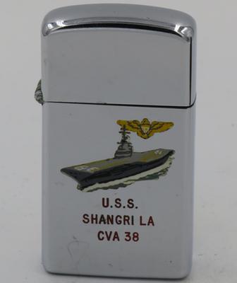 Aircraft carrier USS Shangri La on a 1964 slim T&C Zippo