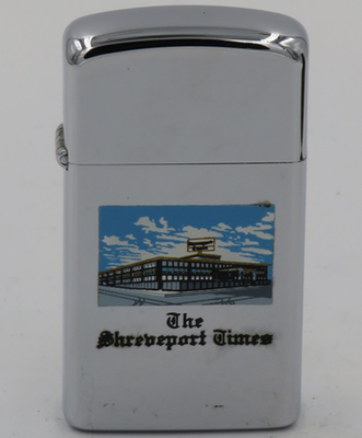1970 slim Zippo with a graphic of the Shreveport Times office building on Lake Street in Shreveport, Louisiana