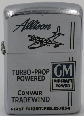 1953 Zippo commemorates the first flight of the GE Allison Convair Tradewind on January 25, 1954
