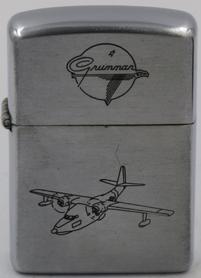 This 1953 Grumman Zippo depicts the Albatross, a twin engine amphibian utility aircraftused into the 1970' by the Navy, Air Force and Coast Guard