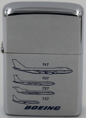 This 1976 Boeing Zippo shows graphics of the 737, 727, 707 and 747 model aircraft.