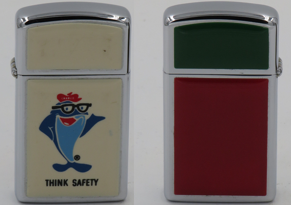 1978 slim ultralite Zippo with the image of Charlie the Tuna, the cartoon mascot for the StarKist tuna brand probably used to promote company safety. Not shown is green and red ultralite on the back