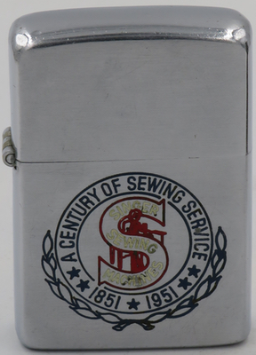 1951 Zippo for Singer Corporation, an American manufacturer of sewing machines, first established as I. M. Singer & Co. in 1851. The lighter commemorates the company's 100th anniversary