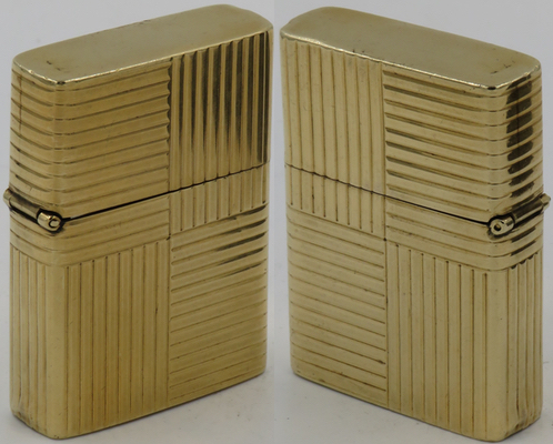 """14K gold lighter with Zippo insert. Has been inscribed with the name """"Reppenhagen"""" on bottom."""