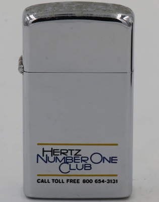 1973 slim Zippo for Hertz Number One Club. Hertz introduced the #1 Club in 1972, now known as Hertz Gold Plus Rewards®,a computerized data system that allowed club members to use Express Service