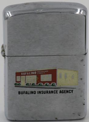 1960 Zippo with the Bufalino Insurance Agency building which was located in Swampscott Massachusetts