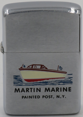 1960 Zippo for Martin Marine in Painted Post NY. with a graphic of what looks like a Chris Craft wooden boat