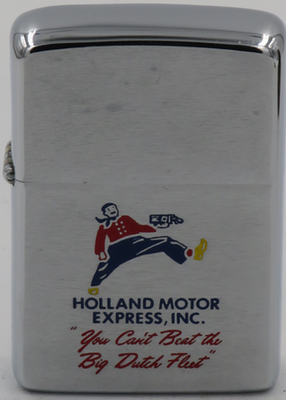 "1968 Zippo depicting a striding giant with a truck in his hand advertises Holland Motor Express, Inc. - ""You can't beat the Big Dutch Fleet"""