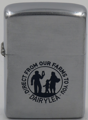 "1953 Zippo with a graphic of family for Dairy Lea Cooperative ""direct from our farms to you"""