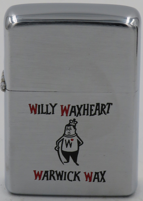 1957 Zippo with Willy Waxheart with a crown on his head for Warwick Wax