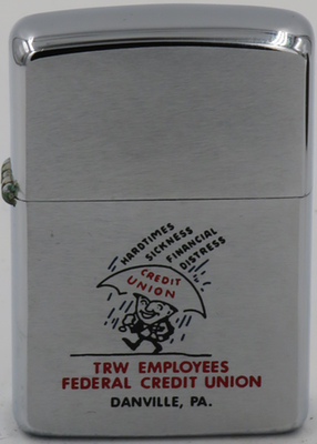 This 1966 Zippo has a main with an umbrella keeping him dry from Hard Times, Sickness, and Financial Distress raining down on him advertising the  TRW Employees Federal Credit Union