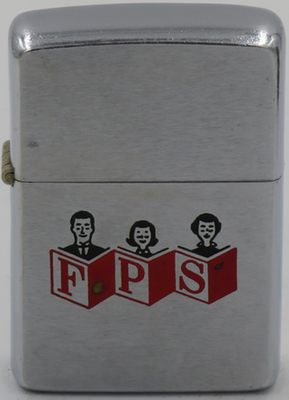 "1965 Zippo with a family reading and ""FPS"".  Could the meaning be Family Planning Services, or something else??"