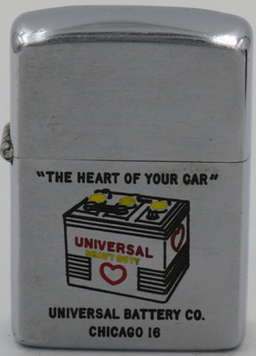 """1953 Zippo for Universal Battery Company - Chicago 18 - """"The Heart of Your Car"""""""