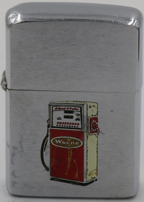 1961 Zippo with a graphic of a Wayne gas pump.The gasoline pump has evolved over the years, beginning in 1885 with the first kerosene pump manufactured in Fort Wayne, Indiana
