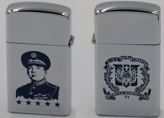 """1958 slim Zippo with the image of Rafael Trujillo and the seal of the Dominican Republic """"Dios Patria Libertad - Republica Dominicana"""" on the reverse. All of the Zippos of family members below are full-sized"""