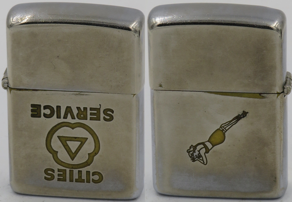 1949-50 Zippo with a Cities Service logo upside down on one side and a lady in lingerie on the other