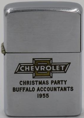 1955 Zippo with the Chevrolet logo celebrating the Buffalo Accountants Christmas Party.