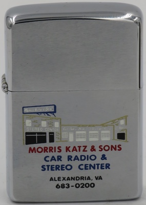 1978 Zippo depicting Morris Katz & Sons Car Radio & Stereo Center in Alexandrea, VA