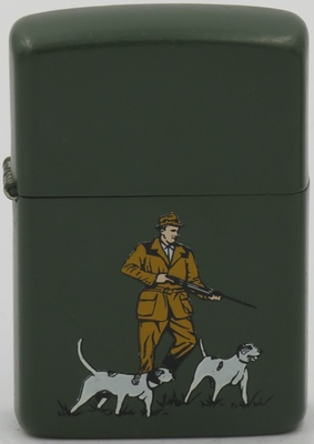 1986 prototype Zippo of hunter with dogs