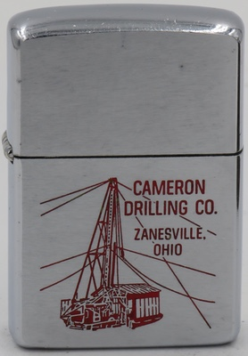 1964 Zippo with a graphic of an oil drilling rig adverting Cameron Drilling Co., Zanesville Ohio